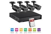 Floureon Kit caméra de surveillance 8ch dvr 2.0mp 1080n enregistreur dvr vidéo 4x hd 1080p cctv avec disque dur 1 to eu noir