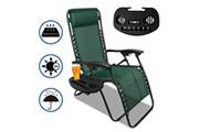 SOTECH Transat en textilène de jardin, chaise longue inclinable, 165 x 112 x 65 cm, vert, textilène, with cup holder, avec coussin, charge maximale: 100 kg