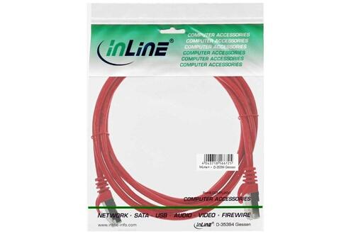 InLine Câble patch, s-ftp, cat.5e, rouge 0,25m, inline®