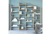 Home Mania Homemania bibliothèque skyler meuble murale, étagère de rangement - avec compartiments - pour séjour, bureau - en bois naturel, 200 x 30 x 192 cm