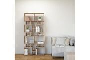 Home Mania Homemania bibliothèque isle meuble murale, étagère de rangement - avec compartiments - pour séjour, bureau - en bois naturel, 79 x 24 x 166 cm
