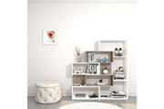 Home Mania Homemania bibliothèque era murale, étagère de rangement - avec compartiments - pour séjour, bureau, entrée - blanc, sonoma en bois, 140 x 27 x 150 cm