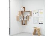 Home Mania Homemania bibliothèque alison murale, étagère de rangement à angle - avec compartiments - pour séjour, bureau - en bois naturel, 70 x 70 x 122,5 cm