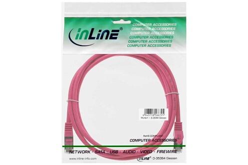 InLine Câble patch, s-ftp, cat.5e, rose, 0,25m, inline®
