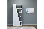 Home Mania Homemania bibliothèque skipper murale, étagère de rangement - avec compartiments - pour séjour, bureau, entrée - blanc en bois, 65 x 22 x 166 cm