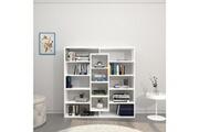 Home Mania Homemania bibliothèque dalia meuble murale, étagère de rangement - avec compartiments - pour séjour, bureau, entrée - blanc en bois, 130 x 27 x 130 cm