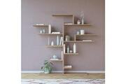 Home Mania Homemania bibliothèque tree murale, étagère de rangement - avec compartiments - pour séjour, bureau, entrée - en bois naturel, 175 x 25 x 161 cm