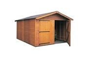 Cihb Garage en bois avec porte double kompact 6 m