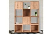Idmarket Meuble de rangement cube 12 cases bois façon hêtre avec portes