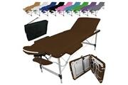 Vivezen Table de massage pliante 3 zones en aluminium + accessoires et housse de transport - marron foncé