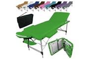 Vivezen Table de massage pliante 3 zones en aluminium + accessoires et housse de transport - vert
