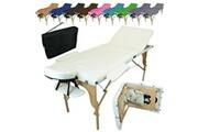 Vivezen Table de massage pliante 3 zones en bois avec panneau reiki + accessoires et housse de transport - blanc