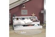 LE QUAI DES AFFAIRES Lit palma 90x190 + étagère + 1 tiroir-lit / blanc