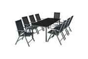 Helloshop26 Salon de jardin aluminium 8 places gris foncé helloshop26 2108044