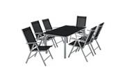 Helloshop26 Salon de jardin aluminium 6 places gris clair helloshop26 2108109