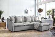 Bobochic Bobochic mona - canapé d'angle convertible - avec coffre - 4 places - droit couleur - gris clair