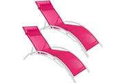 Helloshop26 Lot de 2 transats bain de soleil avec coussin de tête rose helloshop26 2208199
