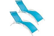 Helloshop26 Lot de 2 transats bain de soleil avec coussin de tête bleu helloshop26 2208195