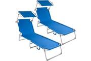 Helloshop26 Lot de 2 transats bain de soleil acier bleu helloshop26 2208189