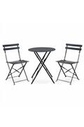 Alice's Garden Salon de jardin bistrot pliable emilia rond gris anthracite, table ⌀60cm avec deux chaises pliantes, acier thermolaqué