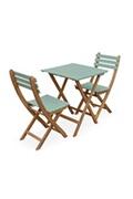 Alice's Garden Table de jardin bistrot 60x60cm - barcelona bois / vert de gris - pliante bicolore carrée en acacia avec 2 chaises pliables
