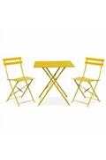Alice's Garden Salon de jardin bistrot pliable emilia carré jaune, avec deux chaises pliantes, acier thermolaqué