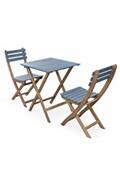 Alice's Garden Table de jardin bistrot 60x60cm - barcelona bois / bleu grisé - pliante bicolore carrée en acacia avec 2 chaises pliables