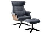 Altobuy Obanos - fauteuil inclinable + repose-pieds gris bleu