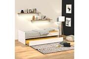 LE QUAI DES AFFAIRES Lit gigogne florent 90x190 + 2 sommiers + 1 tiroir-lit / blanc