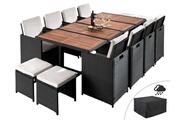 Bestmobilier Maya - salon de jardin encastrable 12 places - en résine tressée - noir avec coussins beiges + housse de protection couleur - noir
