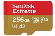 Sandisk Carte mémoire microsdxc sandisk extreme 256 go + adaptateur sd avec performances applicatives a2 jusqu'à 160 mo/s, classe 10, u3, v30