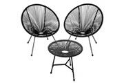 Helloshop26 Salon de jardin ensemble table et chaises de jardin noir helloshop26 2208287