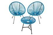 Helloshop26 Salon de jardin ensemble table et chaises de jardin bleu helloshop26 2208286
