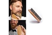 Generic Hommes sanglier cheveux poils barbe moustache brosse militaire dur rond manche en bois peigne bt1328