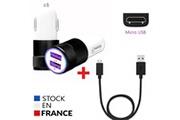 PH26® Pack chargeur auto + câble micro usb pour hp elite x3 chargeur ultra-puissant et rapide 2x (5v / 2,1a) + câble 1m - noir