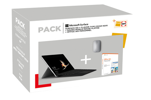 Microsoft PACK SURFACE GO + CLAVIER TYPE COVER NOIR + SOURIS MOBILE HOUSE PLATINE + OFFICE 365 PERSONNEL