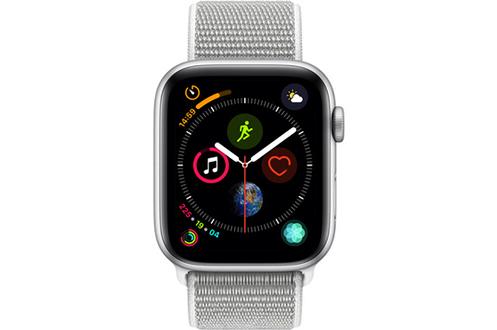 Apple Watch Série 4 GPS + Cellular 44mm Boîtier en aluminium argent avec Boucle Sport coquillage